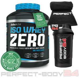 (24,19€/kg) BioTech USA 2,27kg ISO WHEY ZERO Isolate Protein + Shaker + Handtuch