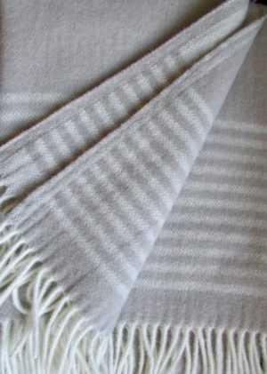 Wollplaid Caramel Stereifen, Wolldecke Tagesdecke, 135x200cm 100% Lammwolle