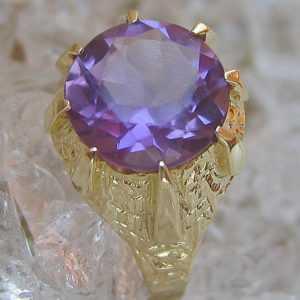 Bombe ☺☻ Amethyst Ring in aus 14kt Gelb Gold Ring mit Amethyste Ametiste Ametist