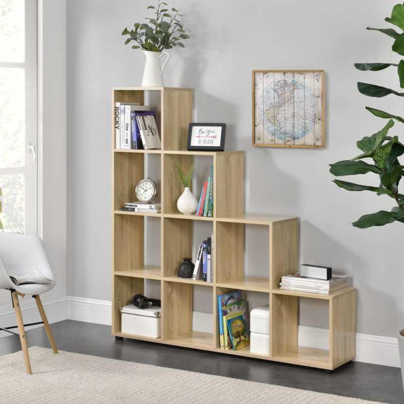 en.casa Treppenregal 10 Fächer Holz Raumteiler Stufenregal Bücherregal Regal