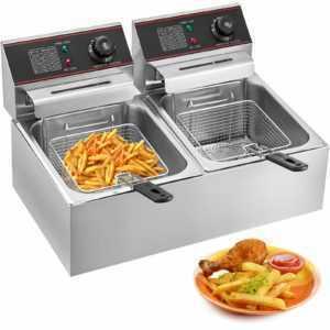 12L Elektrische Friteuse Fritteuse Fritöse Kochkünsten Doppel Küche 2 Körbe