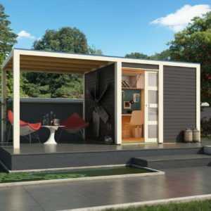 Karibu Gartenhaus Gerätehaus QUBIC 1 terragrau Set mit Anbaudach Moderne Optik