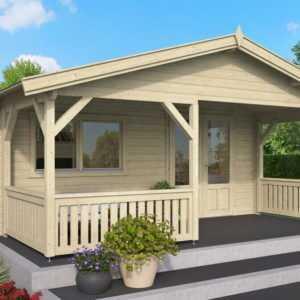 Topgarden Premium Gartenhaus JUIST 5x5m Innenmaß + 2m Terrasse/ 50mm / ISO Glas