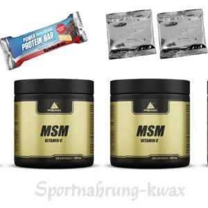 (74,79 Euro/Kg) 4er-Pack Peak - MSM - 4 x 120 Kapseln + Riegel + 2 Proben