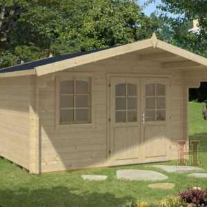 ca. 380x380 cm Gartenhaus 34mm mit 130 cm Vordach Gerätehaus Blockhaus Holz NEU