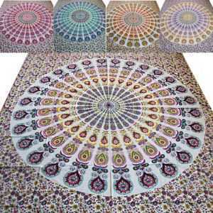 Tagesdecke Bettüberwurf  Pfauen Mandala   Indien- Wandbehang Dekotuch Tuch Decke