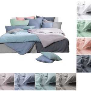 Bettwäsche Baumwolle STONE WASHED 135x200 155x220 Leinen- Jeans- Denim- Look