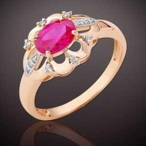 RING mit lab Rubin und e. Diamanten Russisches Rose Rotgold 585 Neu Glänzend