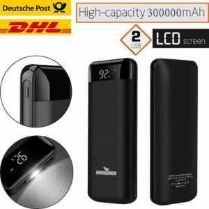 300000mAh Powerbank Externer Ladegerät Zusatzakku Charger 2USB 2LED LCD Batterie