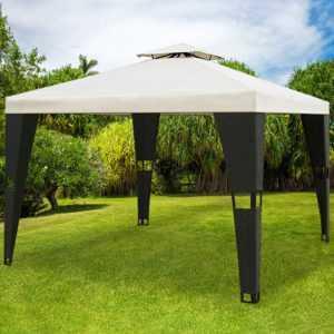Pavillon 3x3m Partyzelt Gartenmöbel Garten Zelt Pavillion Creme Polyrattan