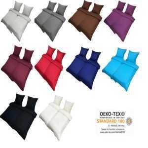 Bettwäsche 135x200 Uni Renforce 100% Baumwolle Einfarbig Decke Kissen Bezug NEU