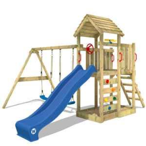 WICKEY Spielturm Klettergerüst MultiFlyer Holzdach mit Schaukel