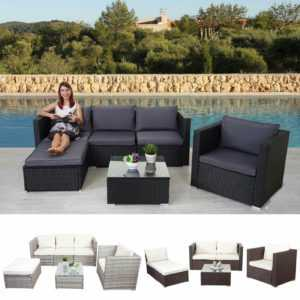 Poly-Rattan-Garnitur Brescia, Gartengarnitur Sitzgruppe Lounge-Set, grau schwarz