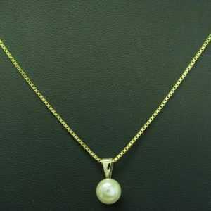 8kt 333 Gelbgold Kette & Anhänger mit Akoya-Perlen Besatz / 5,9g / 51,0cm