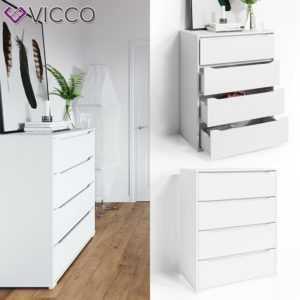 VICCO Kommode RUBEN Weiß 4 Schubladen 80 cm Sideboard Mehrzweckschrank Schrank