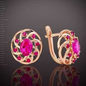 Rose Gold Ohrringe mit Rubin Russische Rotgold 585 Neu Glänzend Spitzenqualität