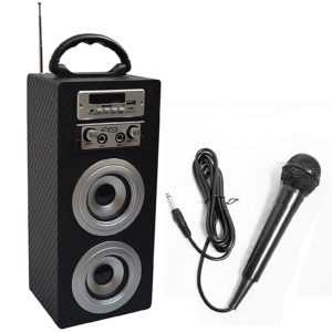 MOBILE BLUETOOTH LAUTSPRECHER + MIKROFON_CARBON LOOK_FM_AUX_USB_SD_MP3_BOX33