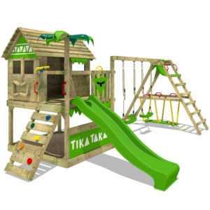 FATMOOSE Spielturm Klettergerüst TikaTaka Town XXL Surf Doppelschaukel + Rutsche