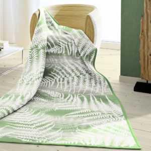 Biederlack Wohndecke Farn 150x200 cm grün natur 100% Baumwolle