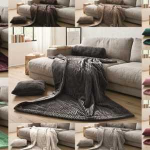 Gözze Kuscheldecke Plaid Überwurf Decke Couch Kissen Rolle Cord