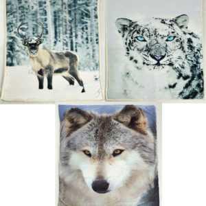 Weiche Sherpa Fleecedecke Wohndecke 150x200 cm  Rentier Wolf