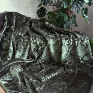 Luxus Tagesdecke Kuscheldecke Wohndecke Decke Plaid dunkel grün