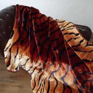 Kuscheldecke Tagesdecke Wohndecke Decke Plaid Felldesign Tiger -