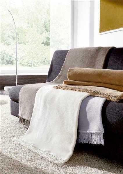 Biederlack uni Wolldecke Kuscheldecke Wohndecke 50 x 200 cm Cotton