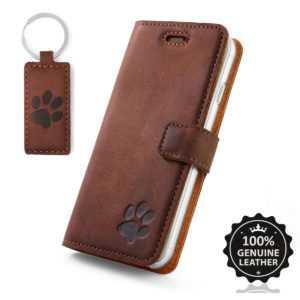 SURAZO® Premium Echtes Leder Handytasche Hülle Wallet Case - Nussbraun mit Pfote