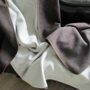 Kaschmir Plaid doppelseitig schokobraun/creme Wolldecke Tagesdecke