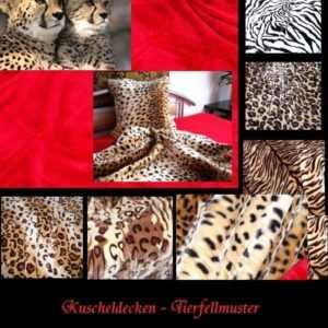 Kuscheldecke Tagesdecke Afrika Tierfellmuster Plüsch Leopard Zebra