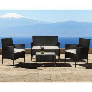 Polyrattan Lounge Gartenmöbel Garternset Sitzgruppe Schwarz Cremeweiß ArtLife®