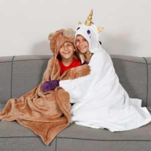 Kuscheldecke - Kinderdecke Bär aus weichem Fleece für Kinder 100 x