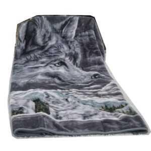 Grau Wolf  Wolldecke Kuscheldecke Bettdecke Tagesdecke Schlafdecke
