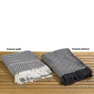 Decke Shima schwarz-weiß mit weißen Fransen