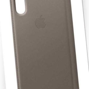 Original Apple iPhone X & XS Leder Folio Case Cover Schutz Hülle MQRY2ZM/A Taupe