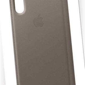 Original Apple iPhone X & XS Leder Folio Case Cover Schutz Hülle MQRY2ZM/A Taupe