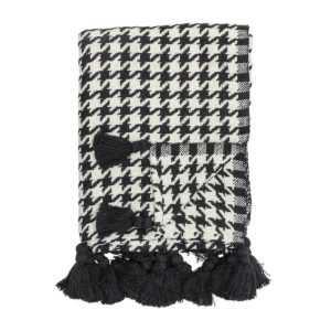 Bloomingville Decke schwarz-weiß Baumwolle
