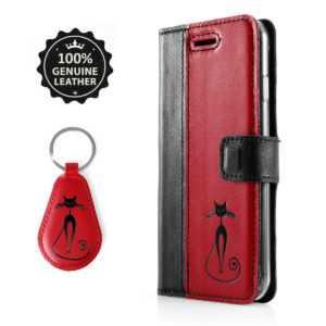 SURAZO Echtes Leder Handyhülle Flip Wallet Case Cover Etui Schwarz/Rot mit Katze