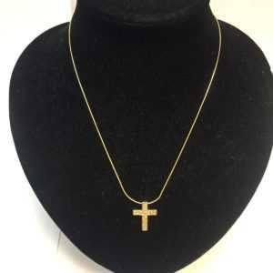 Kette Goldkette mit Kreuzanhänger mit Brillant Besatz 585 14 Karat GOLD EDEL