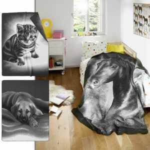 Biederlack Wohndecke in 150x200 cm Kinderdecke Kuscheldecke Hund