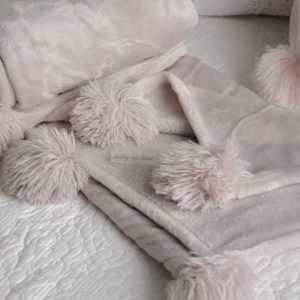 Kuscheldecke Altrosé Plüschdecke Tagesdecke Couchdecke Decke