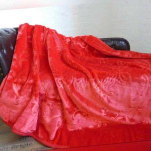XXL Luxus Tagesdecke Kuscheldecke Wohndecke Decke Plaid rubin -