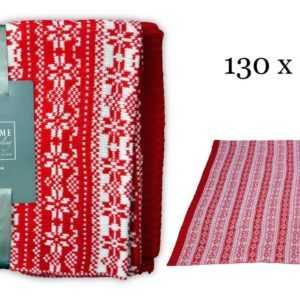 Flauschige Häkeldecke - Decke Wolldecke rot - 130x150cm -