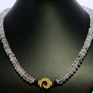 Morganit Kette Edelsteinkette Saphir Rubin Halskette Collier Rosa Beryll ca.48cm
