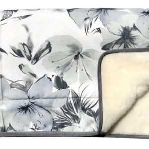 Wolldecke Tagesdecke Überwurf Sofadecke Decke Blumen anthrazit