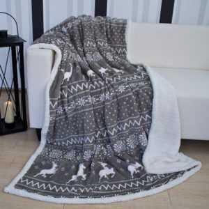 Mojawo® Fleece Decke Wohndecke Tagesdecke Lammfell Optik Modell