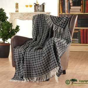 Großes, gemustertes Fransenplaid, englische Wolldecke aus 100%