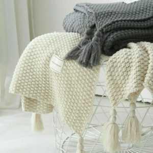 Gestrickt Decke Quaste Fransen Bett Sofa Couch Überwurf Pom Warm
