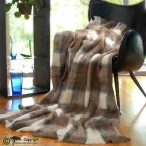 Wolldecke Alpaka super weich wie Kaschmir weiß braun